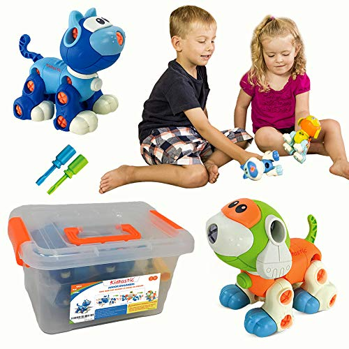 Kidtastic Cat & Dog Take Apart Toys Stem Learning Set, Construction Engineering Play Kit For Boys Girls Toddlers, Best Toy Gift Kids Ages 3yr – 6yr, 3 Year Olds