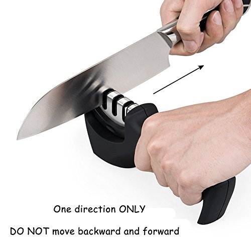 Knife Sharpener , Kitchen Pocket Ceramic Professional Tool , Chef Sharpening Diamond With 3 Stage Step System , Portable Best Knives Folding Serrated Steel Cleaver Head Handheld Blade For Grinding