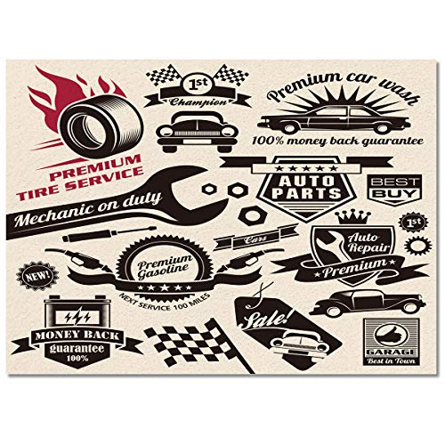 Large Rectangle Area Rugs Shape Durable Low Pile 4' X 6', Washable Runner Rugs Carpet Floor Cover Anti Slip Rubber Backing Mat, Car Repair Shop Logos Monochrome Car Silhouettes Best Garage In Town