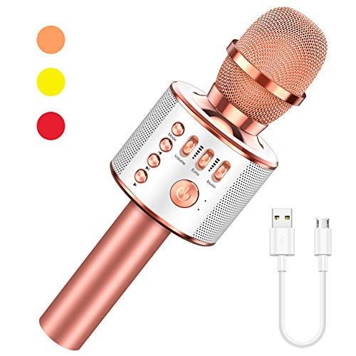 Let's Go! Kids Karaoke Machine Wireless Bluetooth Microphone Toys For Kids Girls Boys Perfect For Home Party Outdoor Christmas Birthday Best Gifts (rose Gold)