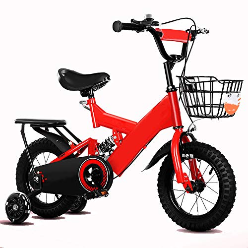 Lrz Children Bike 2 10 Years Old Bicycle Boy And Girl Pedal Mountain Bike With Training Wheels 12 18 Inch Outdoor Travel Bicycle Give Children The Best Gift, Red,12 Inch