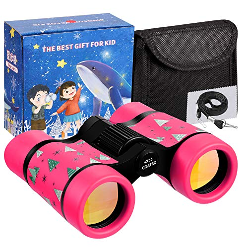 Ltwqling Toy Binoculars For Kids Best Gifts For 3 8 Years Boys Girls Rubber 4x30mm Children Binoculars For Bird Watching,hiking,birthday Presents For Kids,travel,camping(pink)