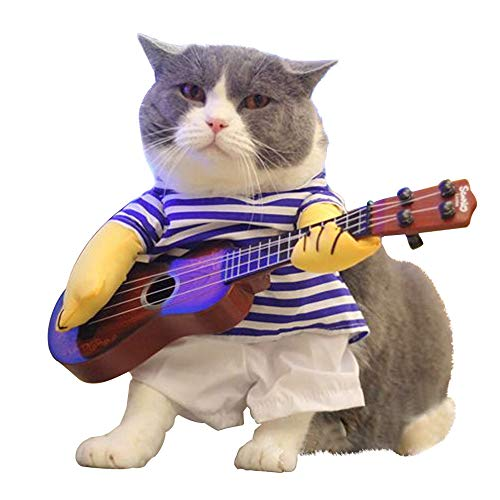 Luckstar Pet Guitar Costume Dog Costume Funny Cat Clothes Dogs Cats Super Funny Crazy Guitarist Style Pet Clothes Best Gift For Halloween Christmas Birthday Cosplay Party Weekend Parties (m)