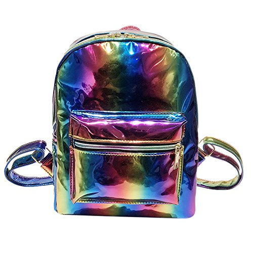 Magnetion Girl Rainbow Laser Leather Backpack, Women Fashion Zipper Travel Bag, Suitable For Leisure, Banquet, Travel, Women's 2 In 1 Convertible Tote Bag Backpack, A Best Gift For Girls