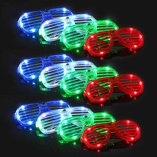 M.best Light Up Glow Glasses, 12 Pack Glow In The Dark Led Shutter Shades Sunglasses Party Supplies For Kids Or Adults