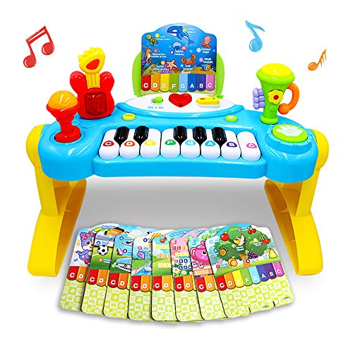 Mochoog Toy Piano For Toddlers, Piano For Kids With English Spanish Language Learning & Music Modes Best Birthday Gifts For 2 3 4 5 Year Old Girls Boys – Educational Keyboard Musical Instrument Toys