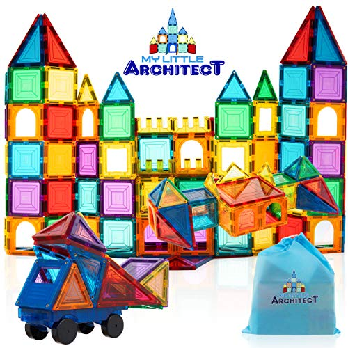 My Little Architect, Magnetic Tiles For Kids, 100 Piece 3d Magnet Block Building Set Educational Construction Toy, Best Gift For Boys And Girls 3 Years Old And Up, Bonus Stylish Carrying Bag.