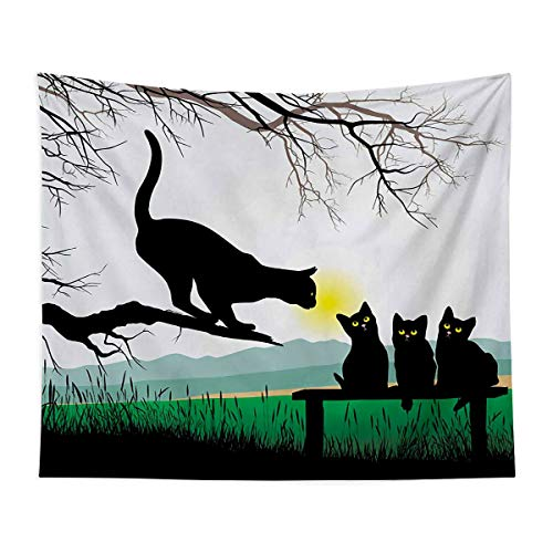 Natural Landscape Tapestry Wall Mounted Mother Cat On Tree Branch And Baby Kittens In Park Best Friends I Love My Kitty Graphic Bedroom, Family Dormitory, Fun Gifts,59x83 Inch