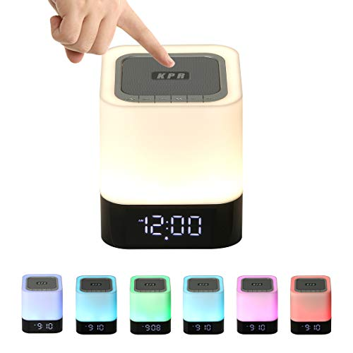Night Light Bluetooth Speaker, Alarm Clock Bluetooth Speaker Mp3 Player, Touch Discoloration Led Light, Portable Outdoor Bluetooth Wireless Speaker,best Gifts For Girl,boy,baby
