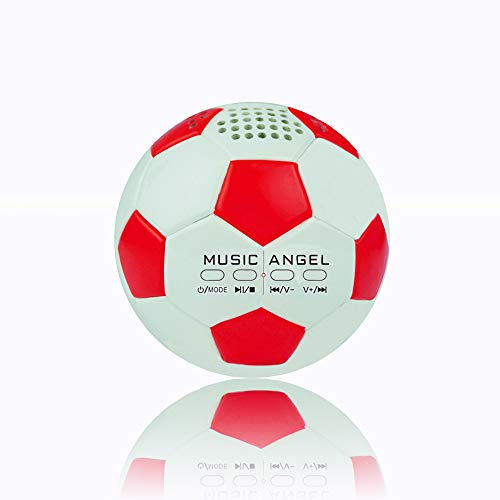 Original Music Angel Jh Zqbt3 Stereo Mini Football Creative Roly Poly Super Bass Hi Fi Wireless Bluetooth Speakers Support Micro Sd Card/tf Line In Mp3 Player Best Birthday Gift (red)