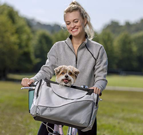 Petsafe Happy Ride Bicycle Basket For Dogs And Cats Sport Style Light Nylon Material Detachable Carrier With Shoulder Strap Removable Sun Shield Multiple Storage Pockets Best For Small Pets