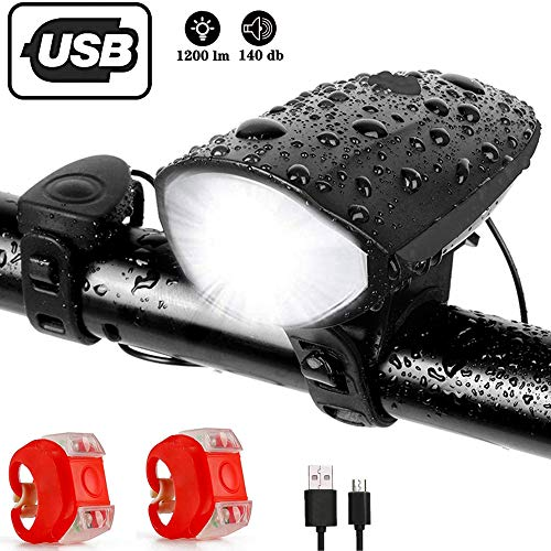 Popuava Bike Lights Front And Back, Usb Bicycle Front Light With Loud Horn, 2pcs Silicone Led Bicycle Warning Light Group, With 3 Lighting Modes, High Strength Waterproof, Best Cycling Gift (blcak)