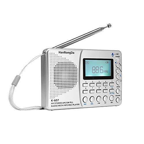 Portable Small Radio By Flyoukki, Personal Am Fm Shortwave Digital Tuning Transistor Radios With Best Reception, Recording Function, Rechargeable Battery, Mp3 Player