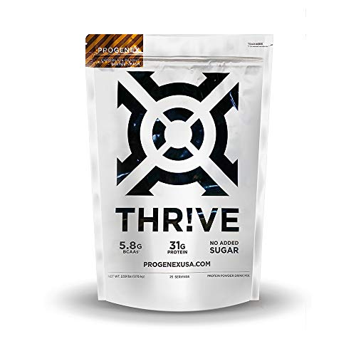 Progenex® Thr!ve | No Added Sugar, Hydrolyzed Whey Protein Isolate Powder For Fat Burning & Lean Muscle Gain | Best Tasting Low Carb Protein Shake For Women & Men | 25 Servings, Peanut Butter Smash