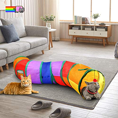 Qling Cat Tunnel With Play Ball, Interactive Peek A Boo Cat Chute Cat Tube Toy, Colorful S Tunnel For Indoor Cat, Best For Puppy, Kitty, Kitten, Rabbit