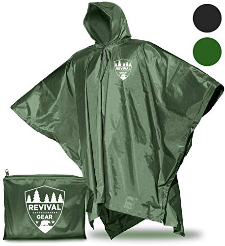 Rain Poncho: Best Rain Coat Waterproof Ponchos For Women Men Boys & Kids. Green Raincoat With Hood Suits Outdoor Hiking Gear. Lightweight Reusable Packable Totes Emergency Military Rain Jacket Cover