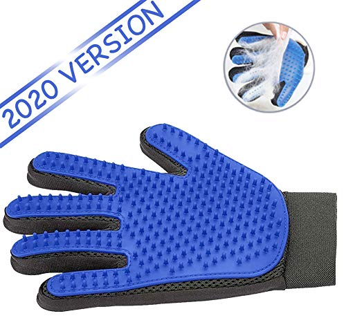 Ravazzi Pet Grooming Glove Gentle Deshedding Brush Glove Best Pet Hair Remover Mitt Perfect For Dog Or Cat With Long Or Short Fur 1 Pair Blue