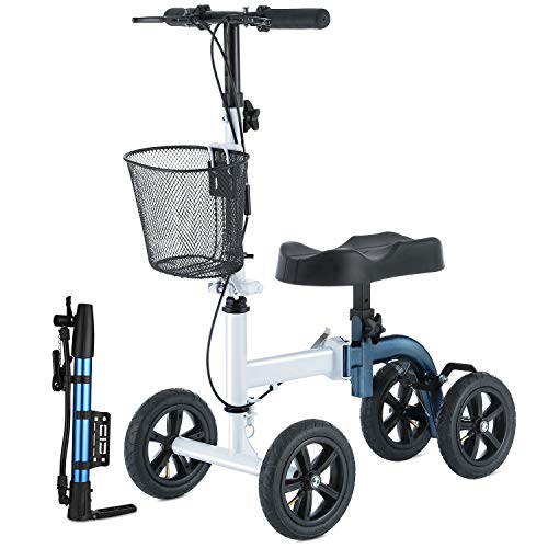 Rinkmo Knee Scooter, All Terrain Foldable Knee Walker Economical Knee Scooters For Foot Injuries Best Crutches Alternative (white+blue)