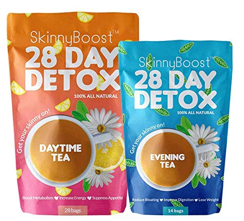 Skinny Boost 28 Day Detox Kit Best Weight Loss Slimming Detox Tea 1 Daytime Tea (28 Bags) 1 Evening Tea (14 Bags) Detox, Cleanse, Speed Up Metabolism, Lose Weight Naturally With The 2 Step System!