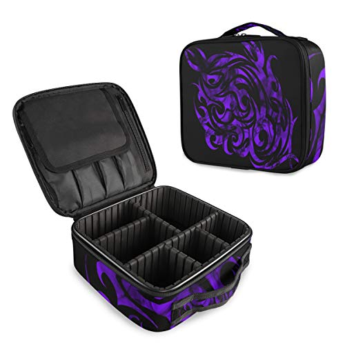 Slhfpx Travel Makeup Case Purple Flames Best Cosmetic Bag Box Professional Train Case Large Make Up Storage Organizer With Adjustable Dividers & Brush Section For Women Girls Hard Shell