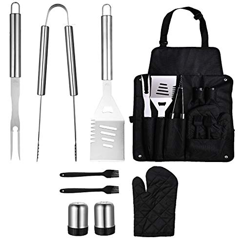 Sphaiya Bbq Grill Tools Set,long Handle,9pcs Stainless Steel Grill Utensils Kit Locking Tongs, Spatula, Fork, Brush,glove. Best Barbecue Grilling Accessories, Gift For Men Woman