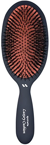 Spornette Large Luxury Cushion Boar And Nylon Bristle Oval Brush (#lx 1) With A Soft Satin No Slip Handle Best Used For Styling, Smoothing And Straightening All Hair Types, Wigs And Extensions