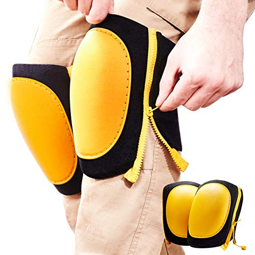 Strapless, Pinch Free Zipper Knee Pads. Best Heavy Duty Tile, Pro Construction Or Garden Work Padded Guards. Mens And Womens Comfy, Adjustable Size Wrap Kneepads. Black And Yellow No Scuff Safety Wear