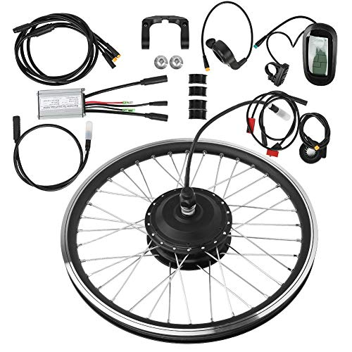 "T Best Electric Bike Conversion Kit, 36v 250w 24""kt Lcd6 Lcd Display Meter High Power Motor Instrument Bike Mountain Bicycle Wheel Conversion Kit (rear Drive Rotating Flywheel)"