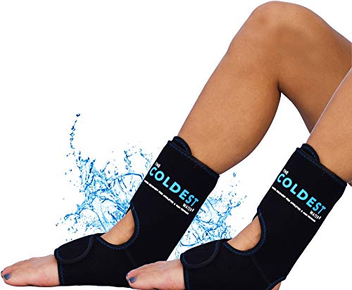 The Coldest Foot Ankle Achilles Pain Relief Ice Wrap With 2 Cold Gel Packs | Best For Achilles Tendon Injuries, Plantar Fasciitis, Bursitis & Sore Feet Built For Cold Therapy (black Xs Xl) (2 Pack)