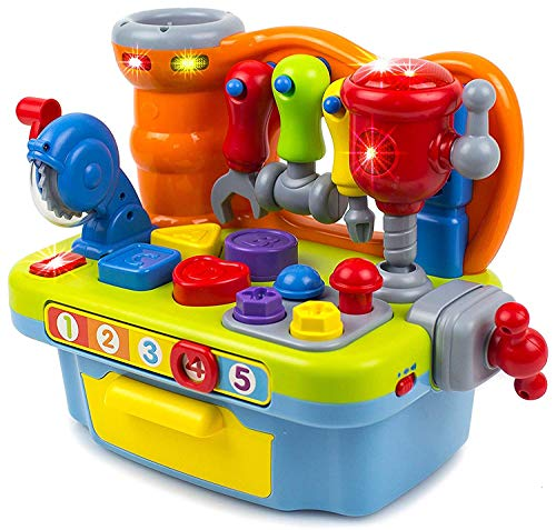 Toysery Musical Learning Workbench Toy Set For Kids, Great Educational Learning Construction Toys For Toddlers, Best For Teaching Colors, Shapes, Number Tools, Sounds & Lights To Boys And Girls