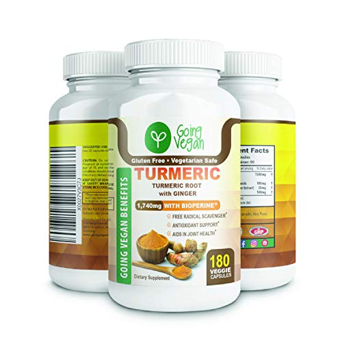 Tumeric Curcumin With Bioperine 1500mg And Ginger Capsules, Black Pepper For Best Absorption, Made In Usa, 180 Vegan Pills, Anti Inflammatory Supplement, Plant Based, 100% Organic, Joint Pain Relief