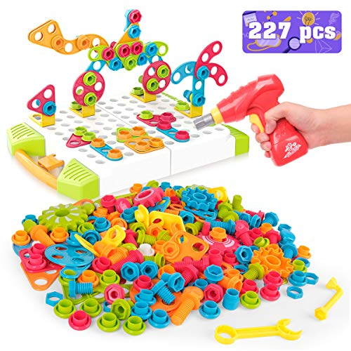 Vanmor Building Block Games Set, 227 Pieces Electric Diy Drill Educational Set With Toy Drill & Screw Driver Tool, Stem Learning Toys Develop Fine Motor Skills, Best Kids Gift For Boys Girls Age 3 4 5