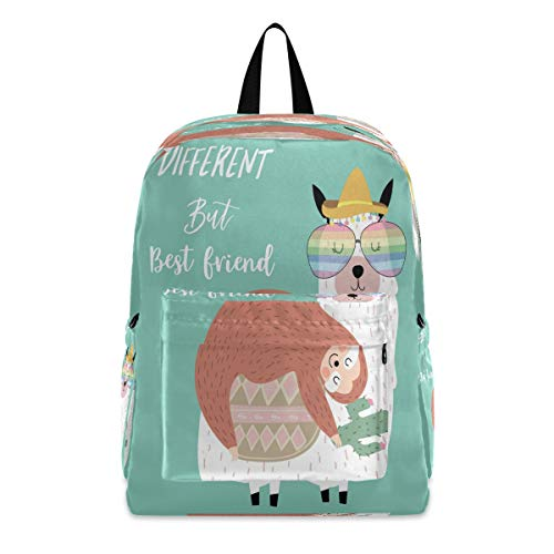 Vdsrup Hand Drawn Cute Card With Sloth Friend Backpack Best Friends Sloth Teens School Bookbags Travel Laptop Daypack Bag Lightweight Water Resistant Schoolbag For Boys Girls
