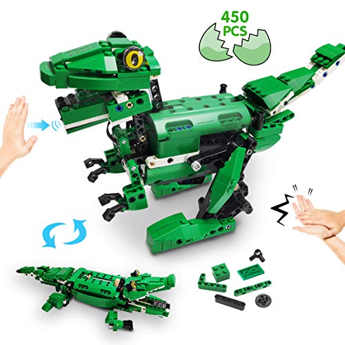 Vertoy Dinosaur Building Blocks Stem Robot Building Kit For Kids 8 12 14 Year Old, Walking Dinosaur And Moving Crocodile Toy, Gesture And Sound Control, Best Gift For Boys Age 8+, 450 Pcs