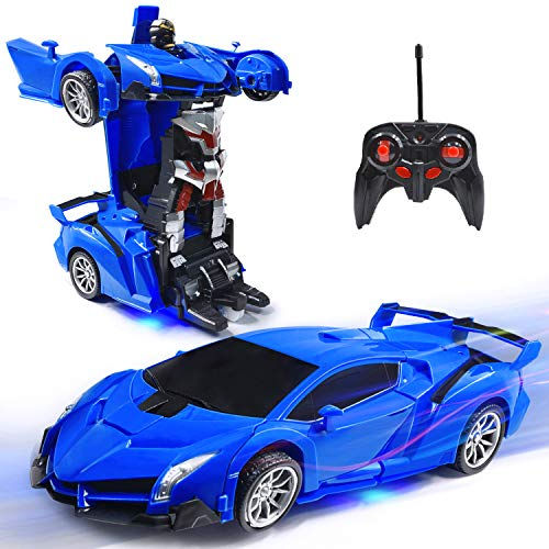 Villacool Rc Cars Robot For Kids Remote Control 1:18 Scale Transformrobot Racing Vehicle Toys With One Button Deformation And 360°rotating Drifting, Deformation Best Gift For Children (blue)