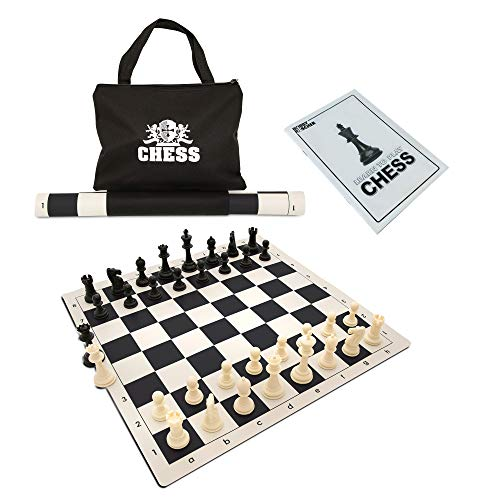 We Games Best Value Tournament Chess Set Filled Chess Pieces And Black Roll Up Vinyl Chess Board