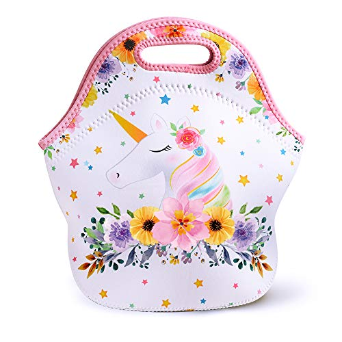 Wernnsai Unicorn Lunch Bag Neoprene Insulated Cooler Lunch Tote Waterproof And Durable For Kids Picnic School Work Shopping Travel Bag With Zipper, Best Gifts