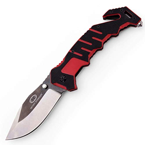 Witharmour Folding Knife Best Pocket Folding Knife Rescuer For Men With High Carbon 440c Blade And Two Tone G 10 Handle With Nylon Sheath For Tactical Outdoor Survival Camping Rescue And Self Defense
