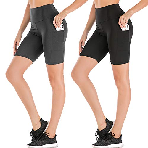 Women's High Waist Workout Yoga Shorts Two Side Pocket Best For Running,dance,bike (3# Black,grey,2 Pack, X Large)