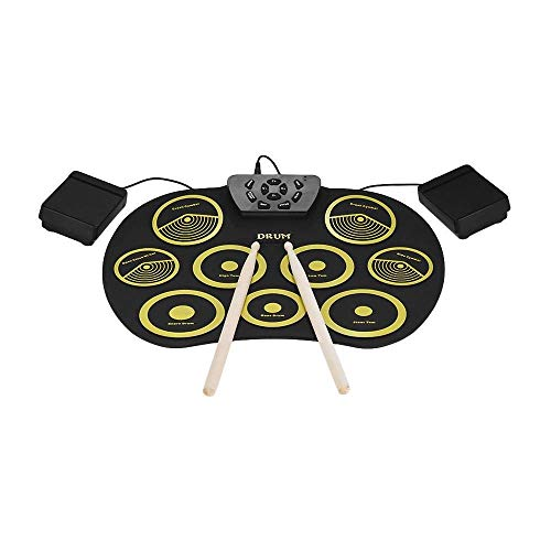 Wsmla Electronic Drum Set Roll Up Drum Practice Portable 9 Pads Digital Drum Kit Electric Drum Set Best Gift For Kids Adults (no Speaker And Battery)