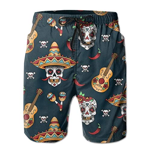 Yongcoler Men's Guitar Pepper Sugar Skull Short Swim Trunks Best Board Shorts For Sports Running Swimming Beach Surfing Quick Dry Breathable Bathing Suits Beach Holiday Party Swim Shorts (l)