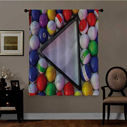 Yoyi Manly, Thermal Insulated Room Darkening Curtains Colorful Snooker Balls Sports Best Home Decoration, Set Of 2 Panels (31.5 X 63 Inch)