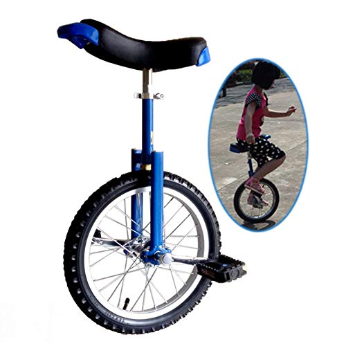 "16""/18"" Wheel Kid's Unicycle, Large 20""/24"" Adult's Trainer Unicycle, Best Birthday Gift, Height Adjustable Balance Cycling Exercise Bike Bicycle (color : Blue, Size : 20"")"