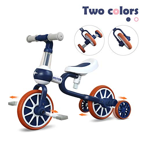 3 In 1 Baby Balance Bike For 1 4 Years Old Kids With Detachable Pedal And Training Wheels | Toys For 2 Year Old Boys Girls | Infant Toddler Bicycle Best First Birthday New Year Blue