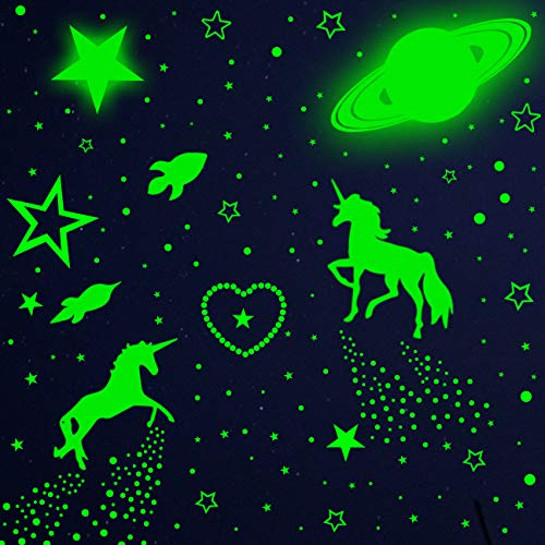 915pcs Glow In Dark Stars And Wall Decal, Glowing Moon Meteors For Ceiling And Wall Decor, Best Gift For Kids Bedding Room Nursery Room Baby Shower And Home Decoration Party Green