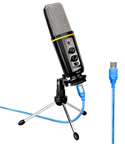 Aokeo's Ak 6 Desktop Usb Condenser Microphone, Best For Live Podcasting, Broadcasting, Skype, Youtube, Recording, Singing, Streaming, Video Call, Conference, Gaming, Etc. With Mount Stand, Plug & Play