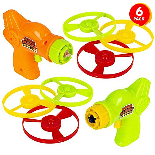 Artcreativity Super Saucer Disc Launcher Toys, Set Of 6, Disk Shooter Sets With 1 Flying Saucer Gun And 3 Spinning Disks Each, Super Fun Outdoor Flying Toys For Kids, Best Birthday Party Favors