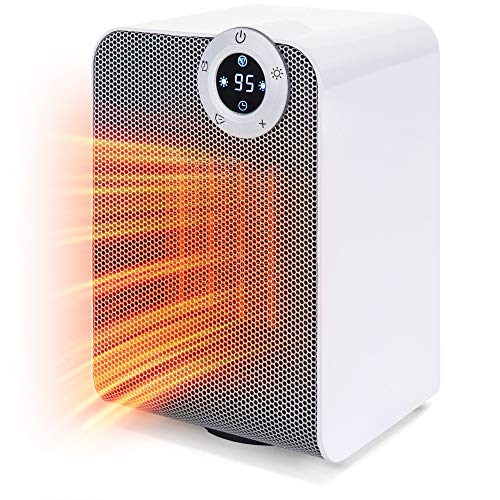 Best Choice Products 1500w Portable Compact Oscillating Desktop Space Heater For Home, Office W/fan, Adjustable Digital Thermostat Display, 12 Hour Timer, Auto Shut Off, 3 Second Heat Up, White