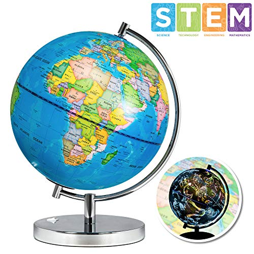 Best Choice Products 7.5in 2 In 1 Kids Light Up World Geographical Globe W/ Day And Night View, Constellations