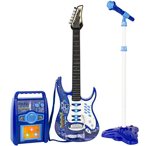 Best Choice Products Electronic Kid Guitar W/ Mp3 Player And Microphone And Amplifier Children Play Set Blue